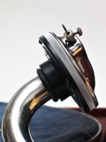 metal horn of retro record player poster