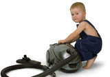 boy and vacuum cleaner poster