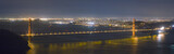 golden gate bridge and san francisco skyline panorama at night poster