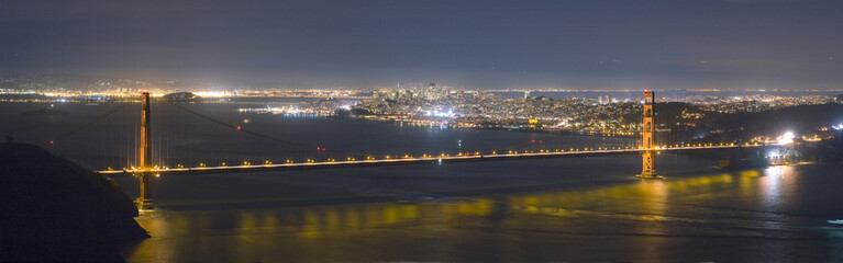 golden gate bridge and san francisco skyline panorama at night