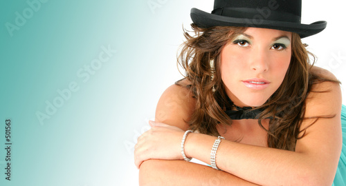 beautiful woman in top hat and bow tie t-shirt