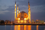 night mosque reflection poster