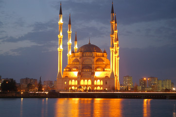 night mosque reflection