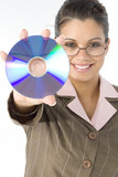beautiful woman with compact disc in hand poster