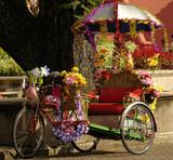 malaysia; malacca: rickshaw poster