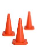 three traffic cones poster
