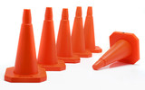 five cones aligned, one fall down poster