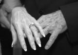 mature wedding hands bw poster