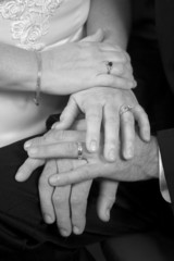 young wedding hands bw