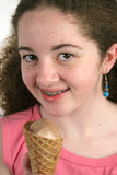teen girl with ice cream cone poster