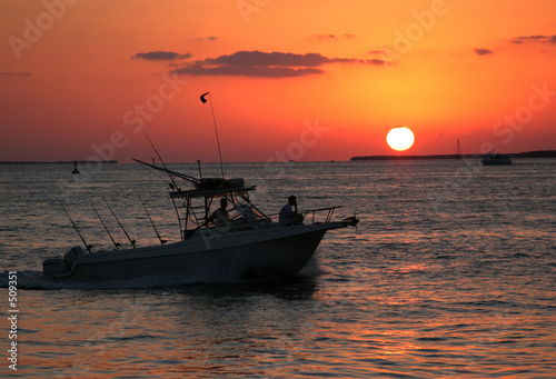 Staande foto Water Motorsp. sunset boating
