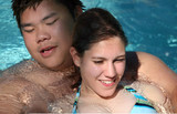 couple in the pool poster