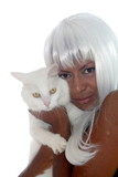 whie hair woman and white cat poster
