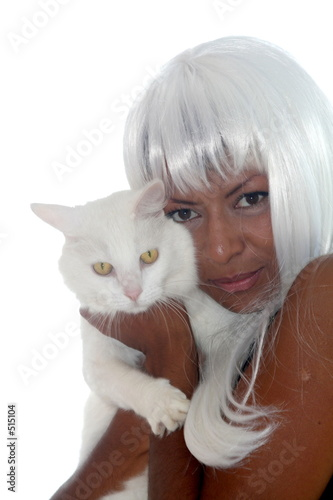 poster of whie hair woman and white cat