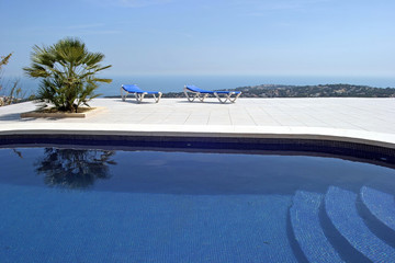 amazing swimming pool in spanish villa with incredible views to