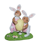 easter bunnies carrying egg - with path poster