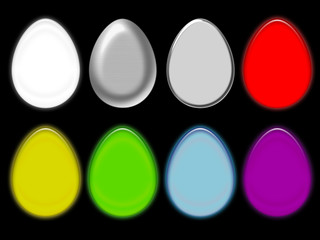 easter eggs colored silhouettes, isolated