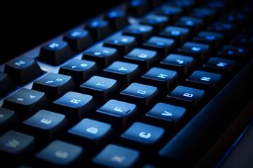 blue neon keyboard