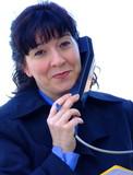 mujer con teléfono poster