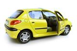 yellow model car - hatchback. opened right door poster