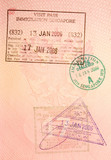 passport stamps - visa to singapore poster