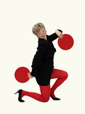 businesswoman with 2 red circles poster