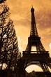 sunset on the eiffel tower
