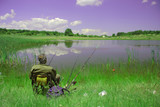 person fishing outside poster