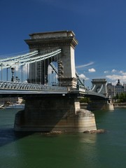 pillar of chain bridge and danube