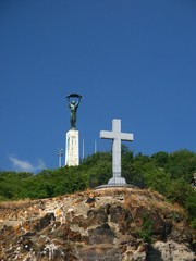 liberty statue and cross on mount gellert