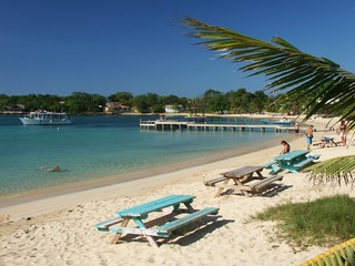 benches on beach of roatan (bay islands)