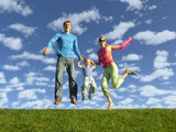 fly happy family on blue sky with clouds
