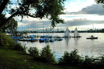 view onto sailing boats