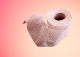a roll of toilet paper on a pink background. poster
