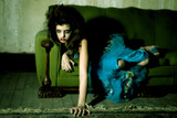 goth girl on old couch poster