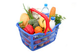 groceries in shopping basket poster