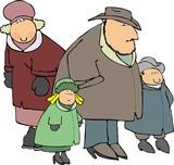 family in coats poster