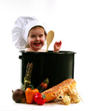 child in cooking pot poster