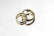 wedding rings on a mirror