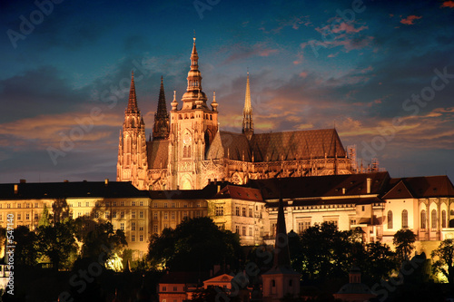 canvas print picture prague in the night