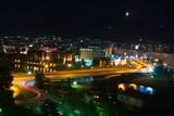 city of skopje at night poster