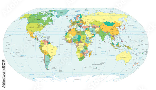 world map political boundaries - 550717