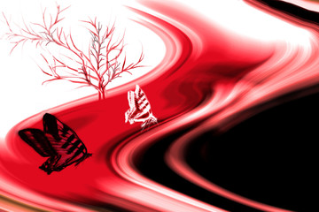butterflyes on red and black colored curved lines and tree at th