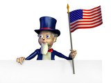 uncle sam with the edge of a blank sign poster