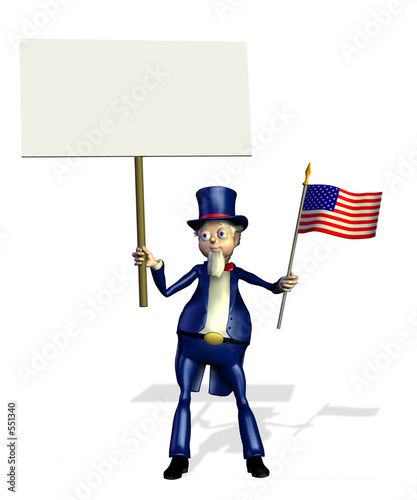 uncle san holding a blank sign