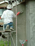 stucco worker, construction, man poster