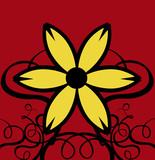 decor curls with yellow flower & red background poster