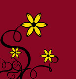 decor curls with yellow flowers & red background poster