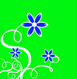 decor curls with blue flower & green background poster