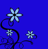 decor curls with blue flowers & bright blue background poster